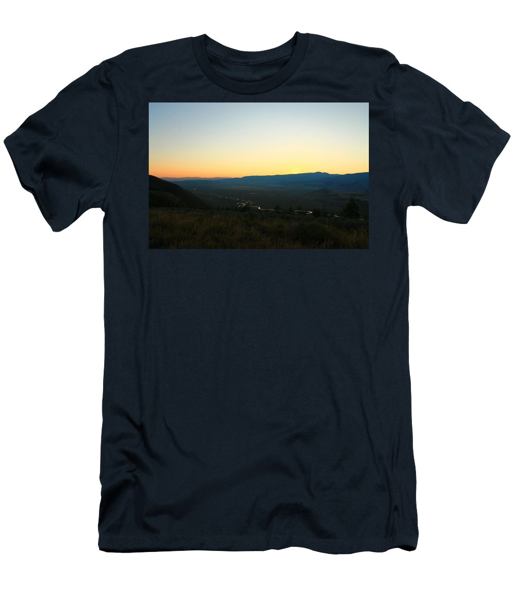 Jackson Hole Men's T-Shirt (Athletic Fit) featuring the photograph Sun On The River by Catie Canetti