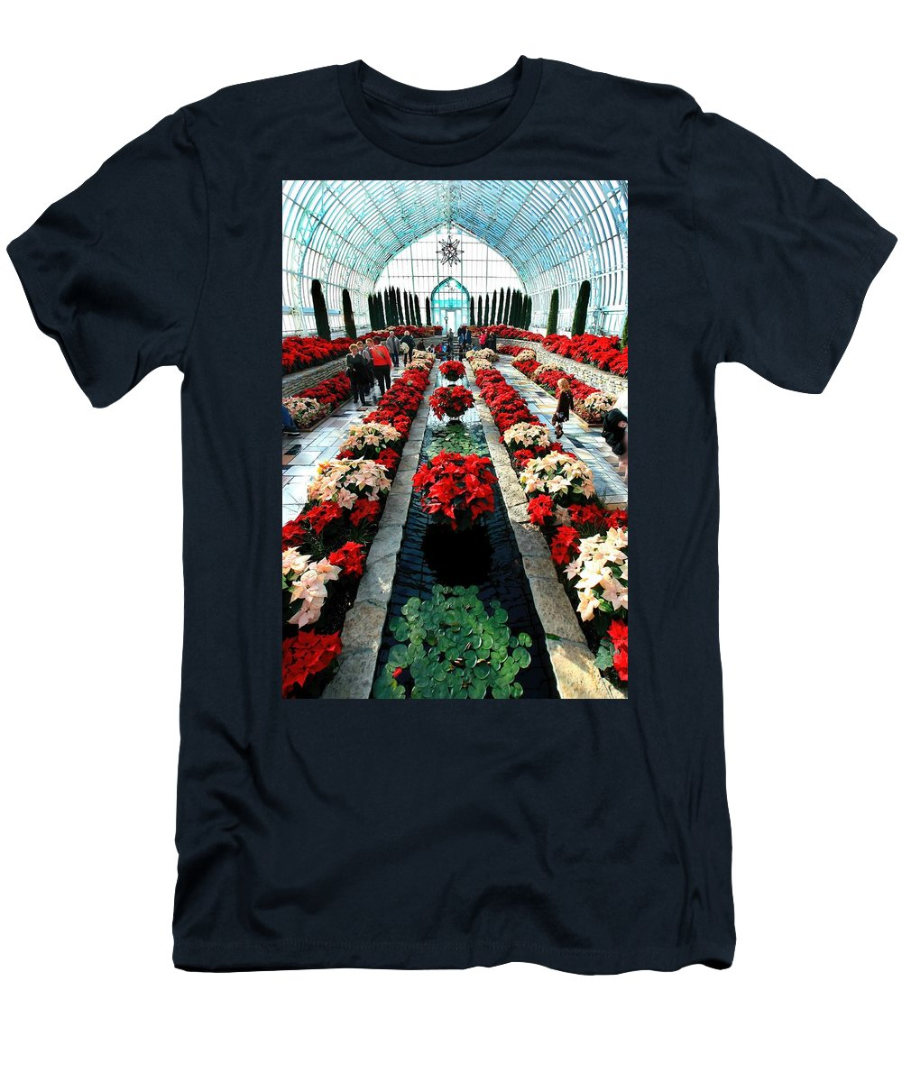 Sunken Garden Men's T-Shirt (Athletic Fit) featuring the photograph Sunken Garden Como Conservatory by Amanda Stadther