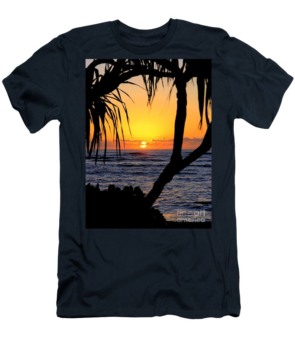 Seascape Men's T-Shirt (Athletic Fit) featuring the photograph Sunrise Fuji Beach Kauai by Mary Deal