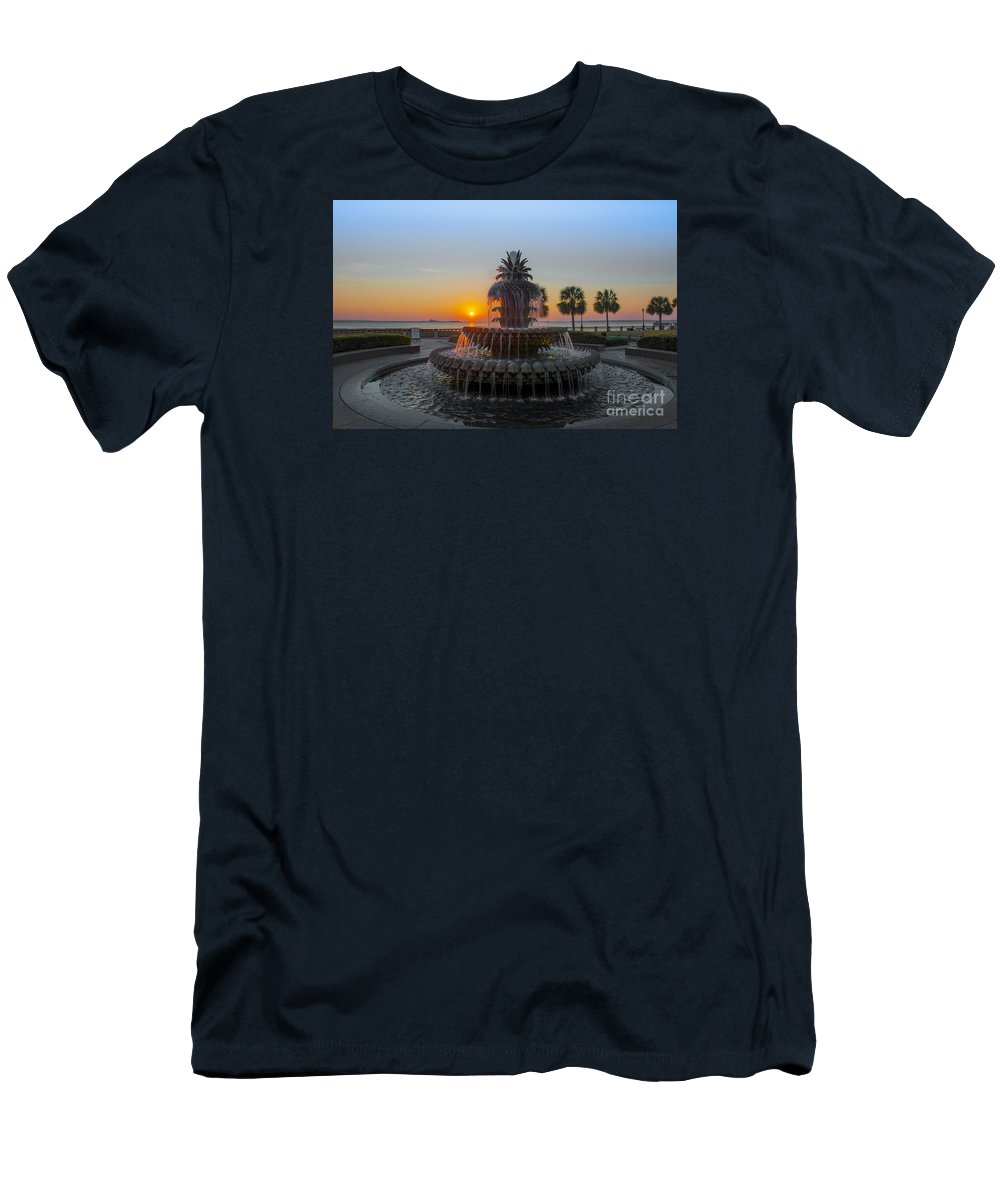 Pineapple Fountain At Waterfront Park In Downtown Charleston Sc Men's T-Shirt (Athletic Fit) featuring the photograph Sunrise Over Charleston by Dale Powell