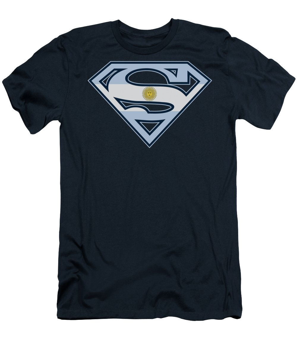 Superman Men's T-Shirt (Athletic Fit) featuring the digital art Superman - Argentinian Shield by Brand A