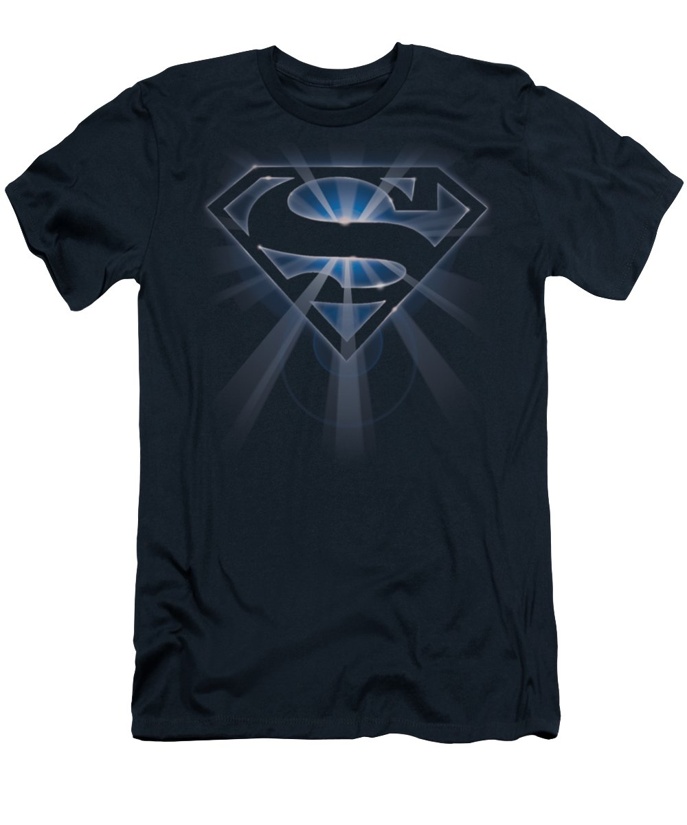 Superman T-Shirt featuring the digital art Superman - Glowing Shield by Brand A