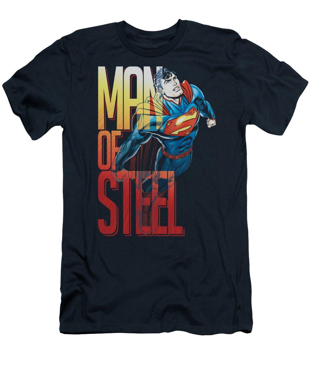 Superman T-Shirt featuring the digital art Superman - Steel Flight by Brand A
