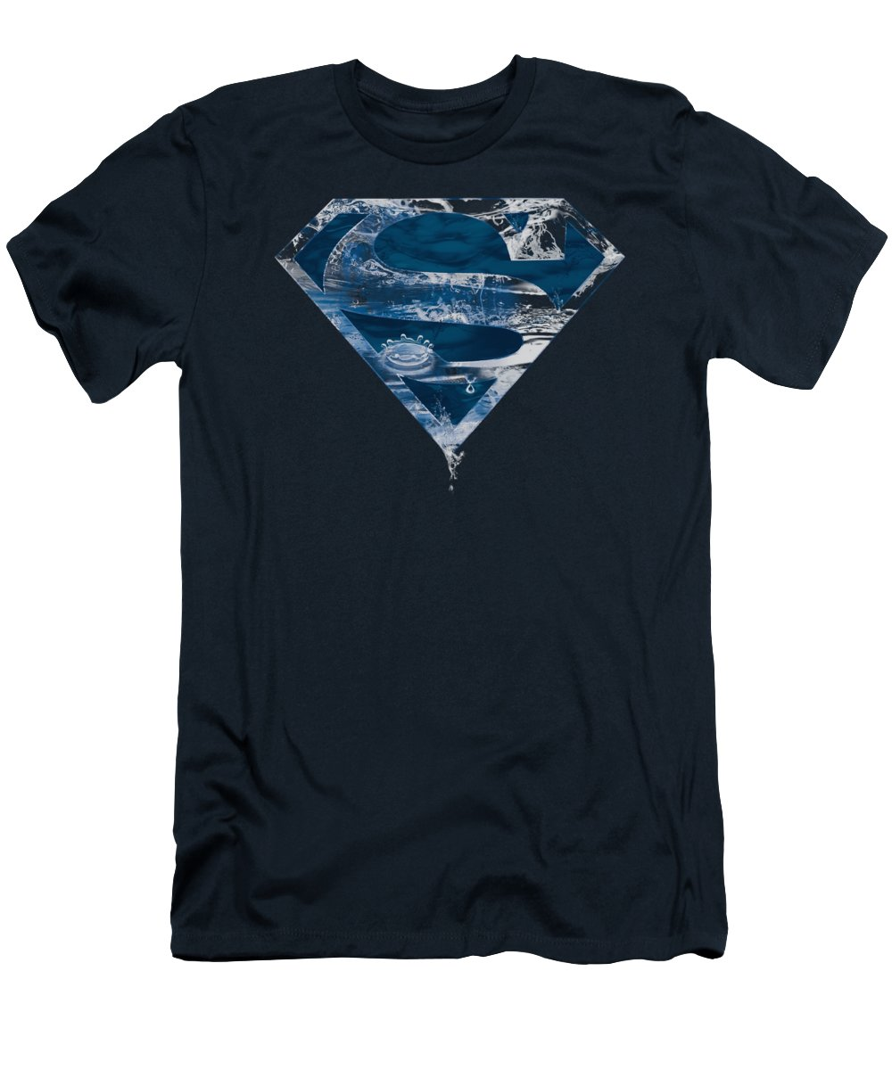 Superman T-Shirt featuring the digital art Superman - Water Shield by Brand A