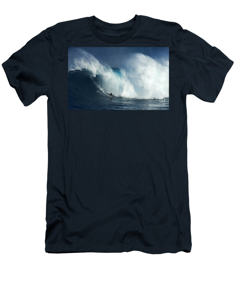 Jaws Men's T-Shirt (Athletic Fit) featuring the photograph Surfing Jaws Surfing Giants by Bob Christopher