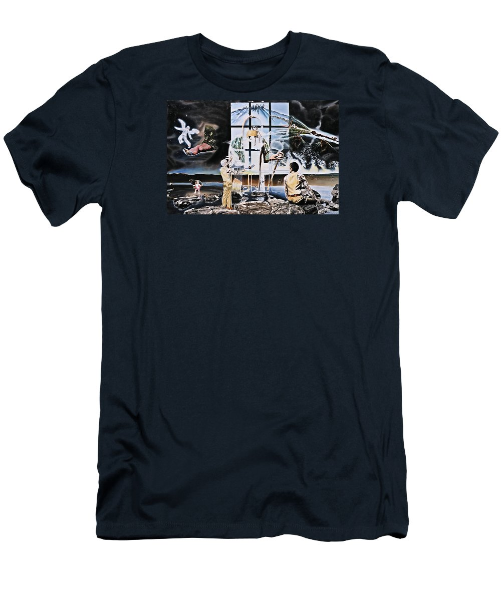 Surreal Men's T-Shirt (Athletic Fit) featuring the painting Surreal Windows Of Allegory by Dave Martsolf