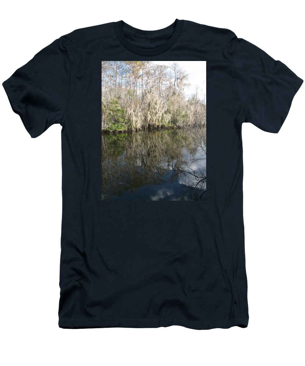Swamp Men's T-Shirt (Athletic Fit) featuring the photograph Bold Cypress Reflection by Christiane Schulze Art And Photography