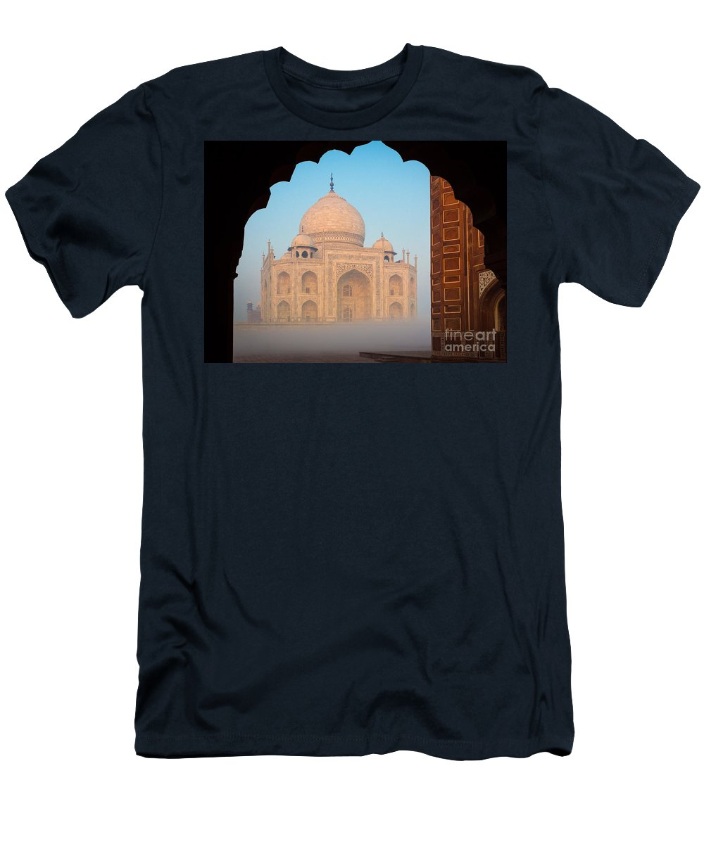 Agra Men's T-Shirt (Athletic Fit) featuring the photograph Taj Mahal Dawn by Inge Johnsson