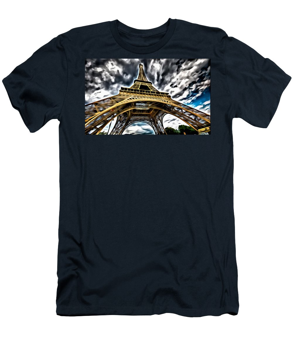 Symbol Men's T-Shirt (Athletic Fit) featuring the painting The Amazing Eiffel by Florian Rodarte