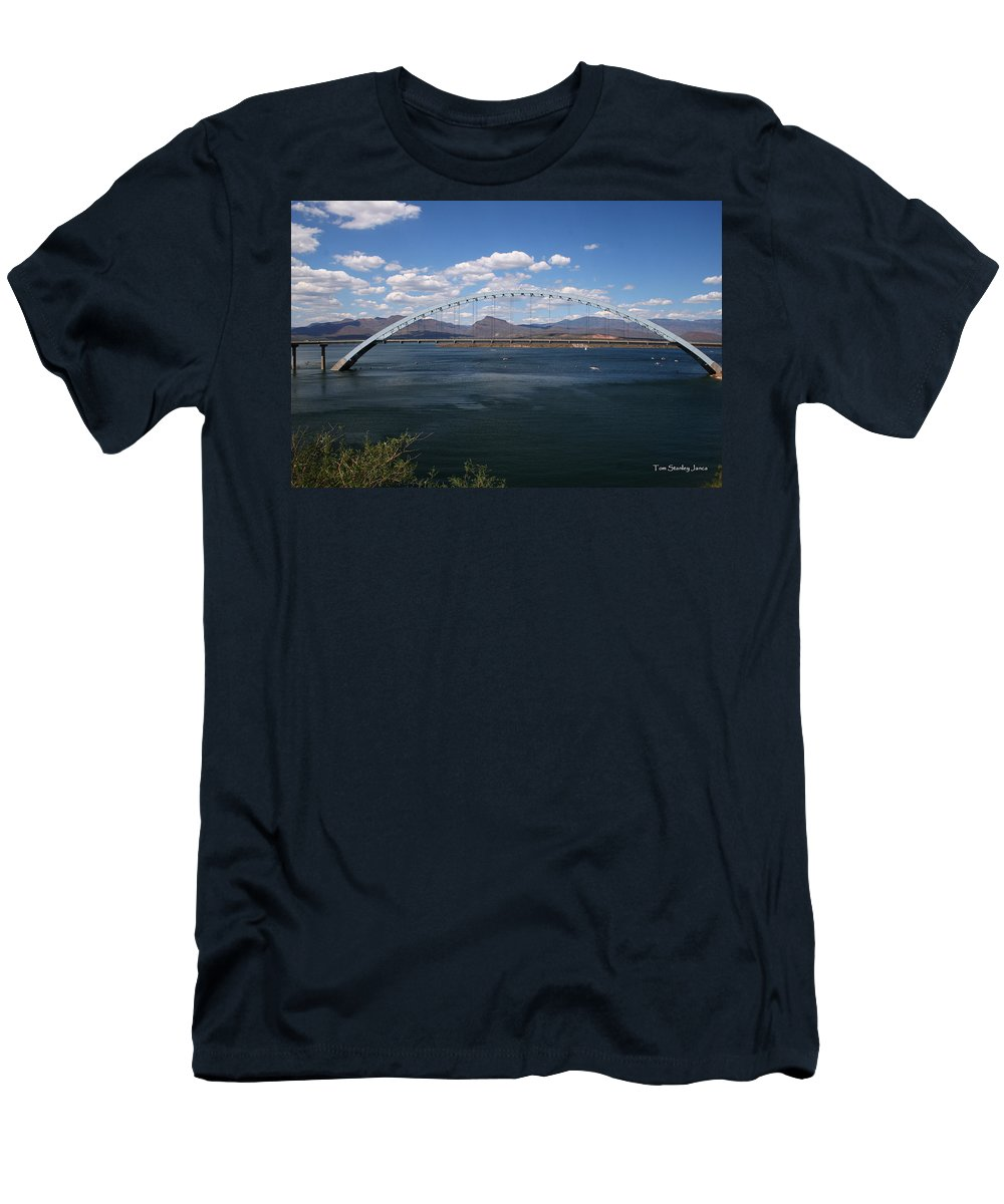 The Bridge At Roosevelt Lake Men's T-Shirt (Athletic Fit) featuring the photograph The Bridge At Roosevelt Lake by Tom Janca