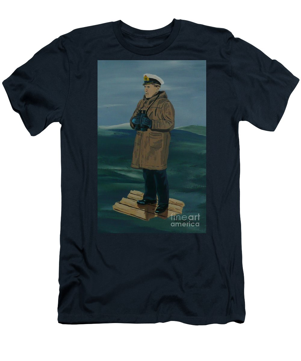 Captain Men's T-Shirt (Athletic Fit) featuring the painting The Captain by Anthony Dunphy