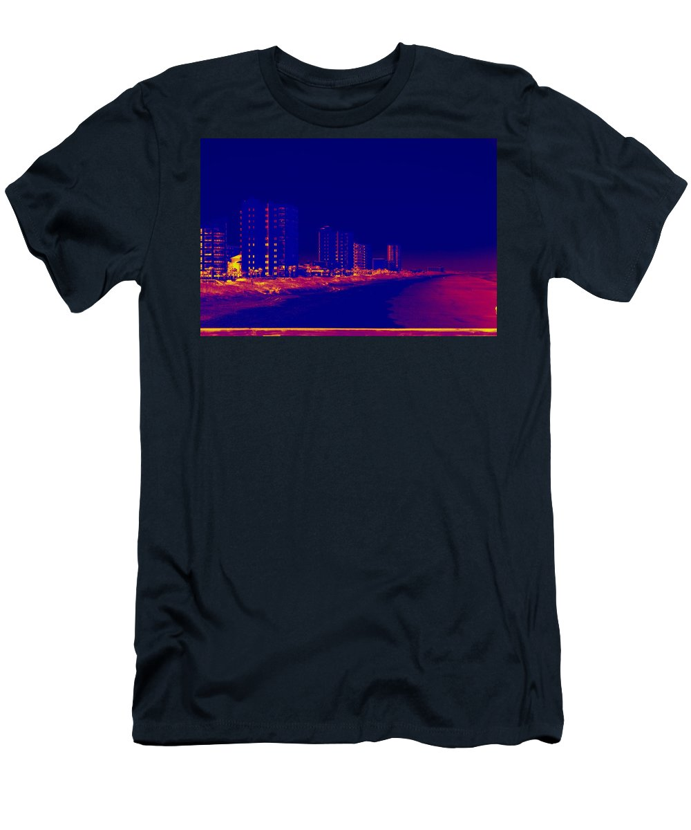 Beach Men's T-Shirt (Athletic Fit) featuring the photograph The City At The Beach by Anthony Walker Sr