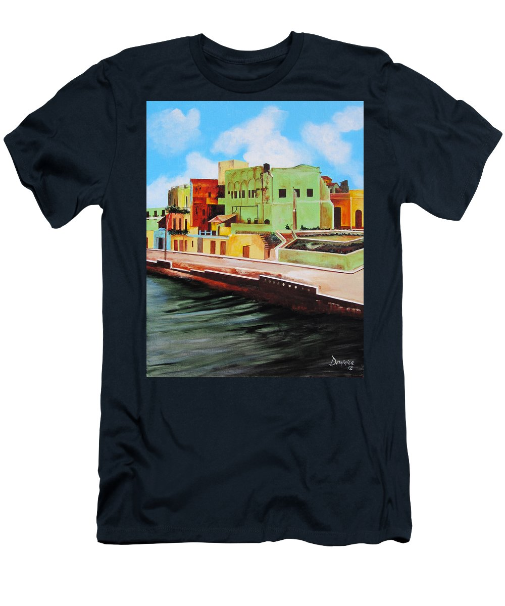 Matanzas Men's T-Shirt (Athletic Fit) featuring the painting The City Of Matanzas In Cuba by Dominica Alcantara