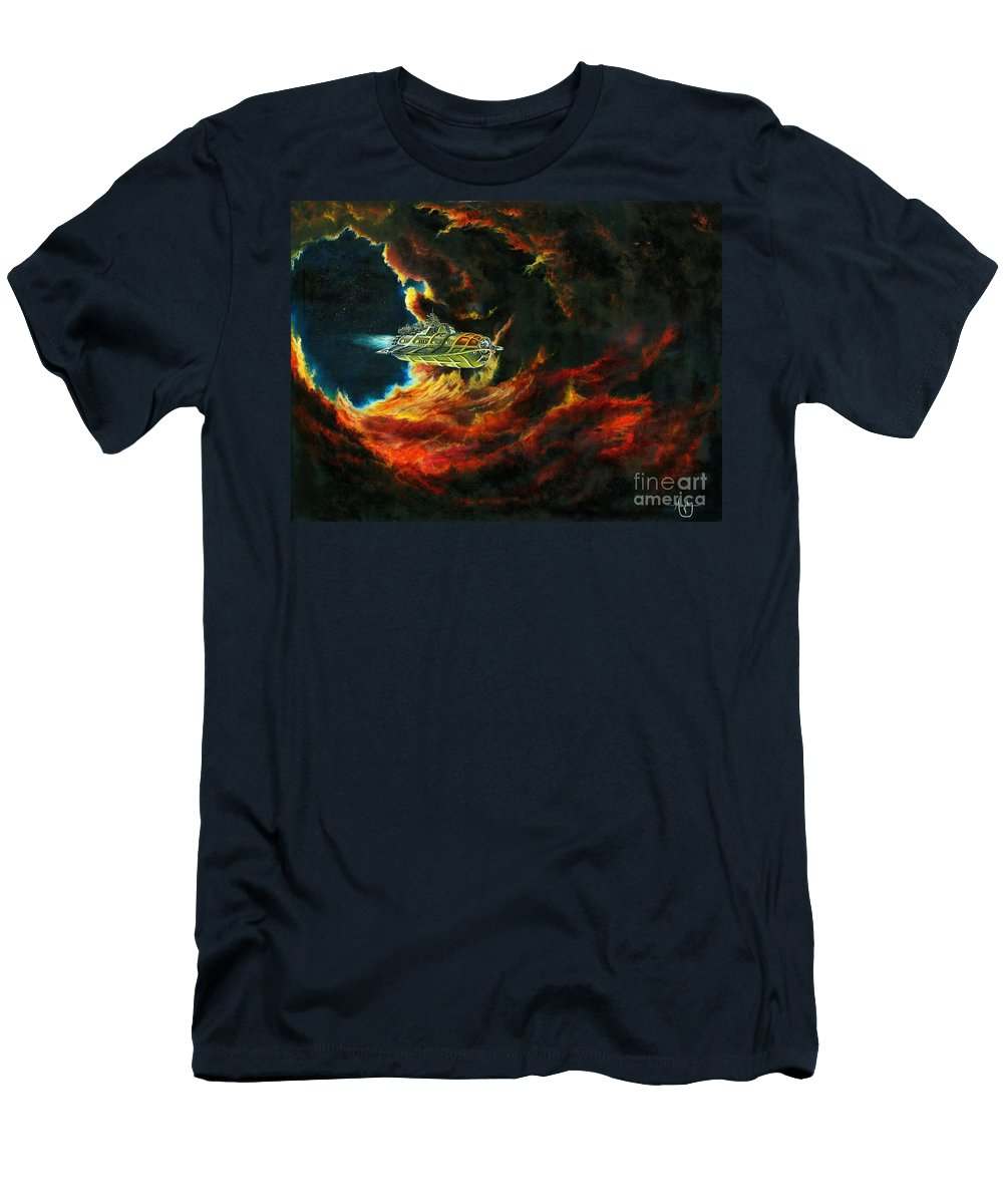 Devil Men's T-Shirt (Athletic Fit) featuring the painting The Devil's Lair by Murphy Elliott