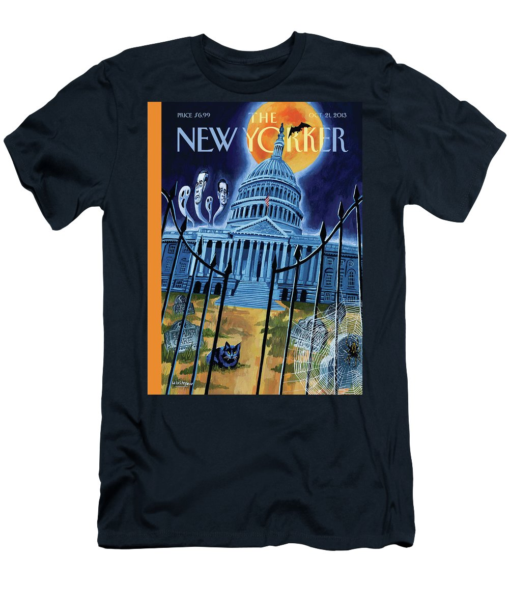 Ted Cruz Men's T-Shirt (Athletic Fit) featuring the painting The House Republicans Haunt The Captiol Building by Mark Ulriksen