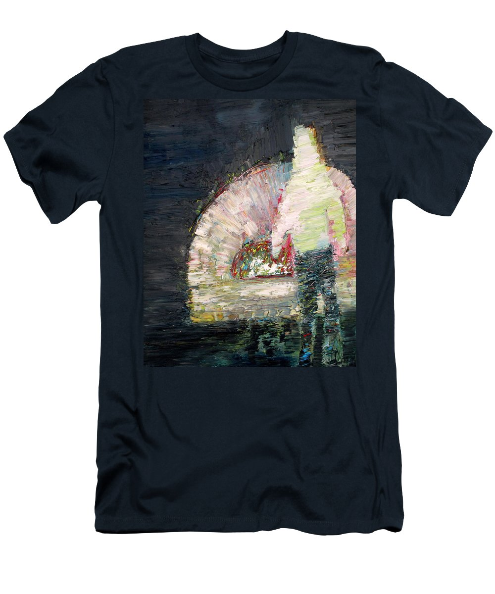 Man Men's T-Shirt (Athletic Fit) featuring the painting The Man And The Fire by Fabrizio Cassetta