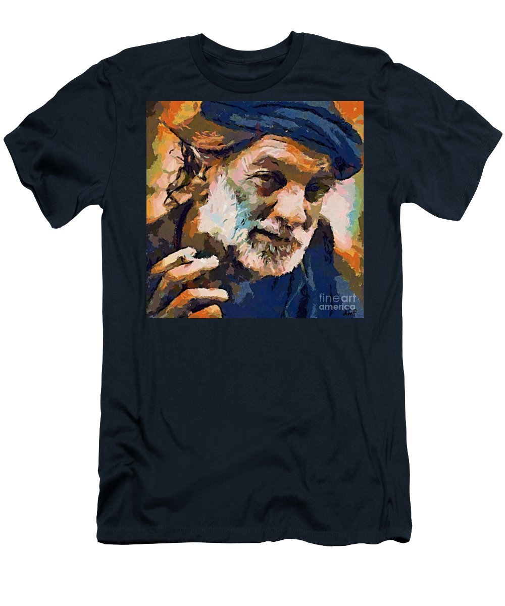 Seawolf Men's T-Shirt (Athletic Fit) featuring the painting The Old Fisherman by Dragica Micki Fortuna