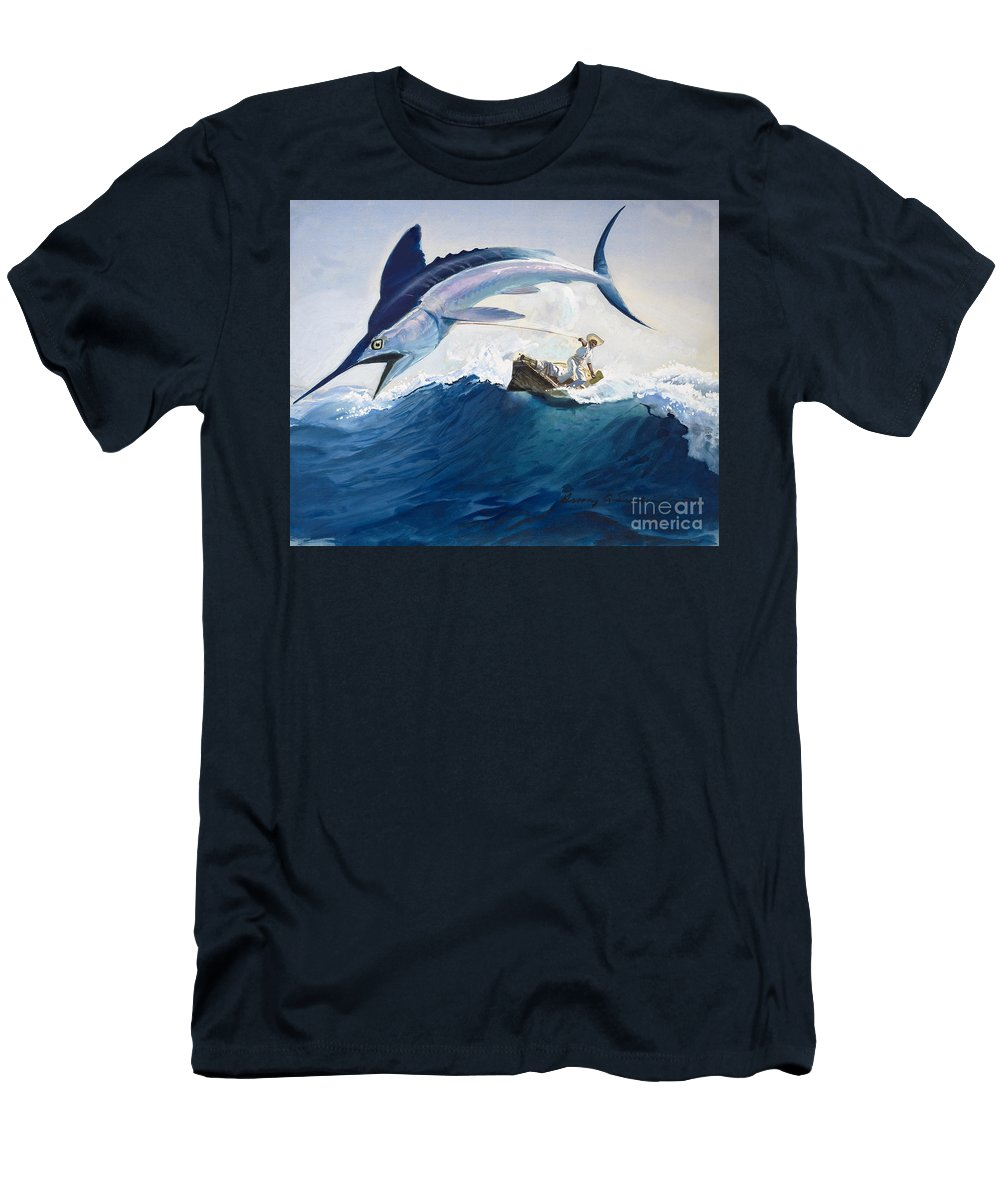 The Men's T-Shirt (Athletic Fit) featuring the painting The Old Man And The Sea by Harry G Seabright