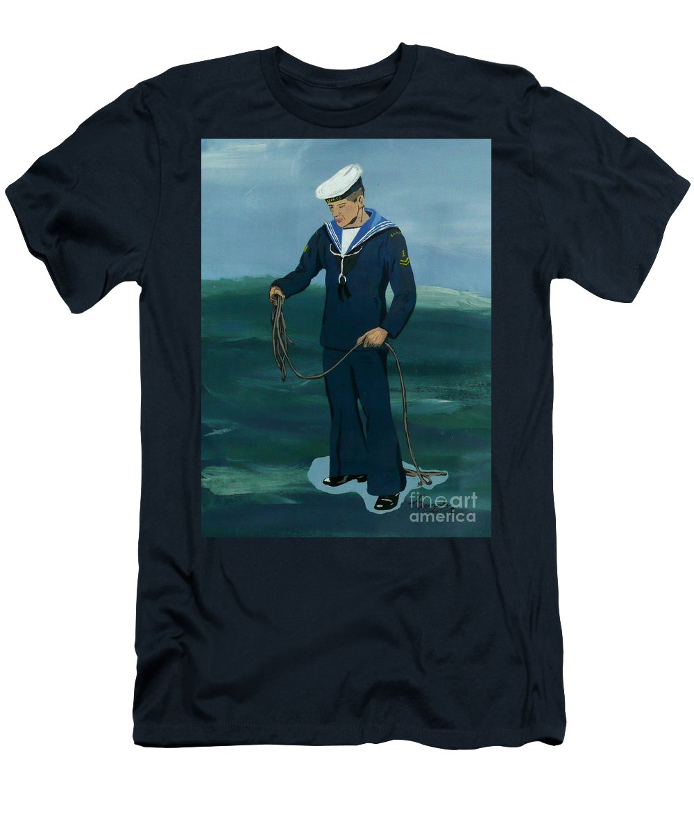 Sailor Men's T-Shirt (Athletic Fit) featuring the painting The Sailor by Anthony Dunphy