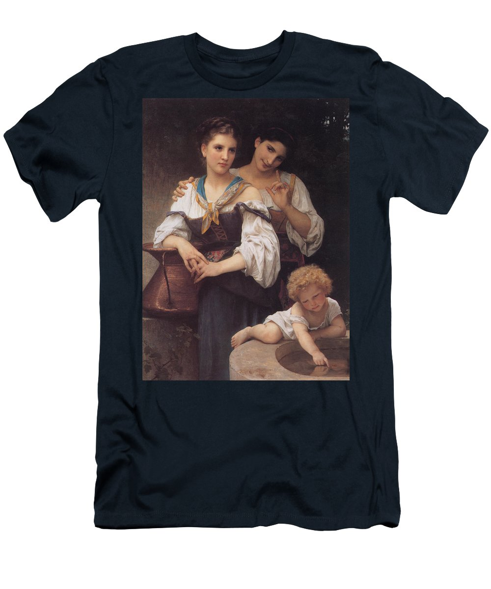 William Bouguereau Men's T-Shirt (Athletic Fit) featuring the digital art The Secret by William Bouguereau