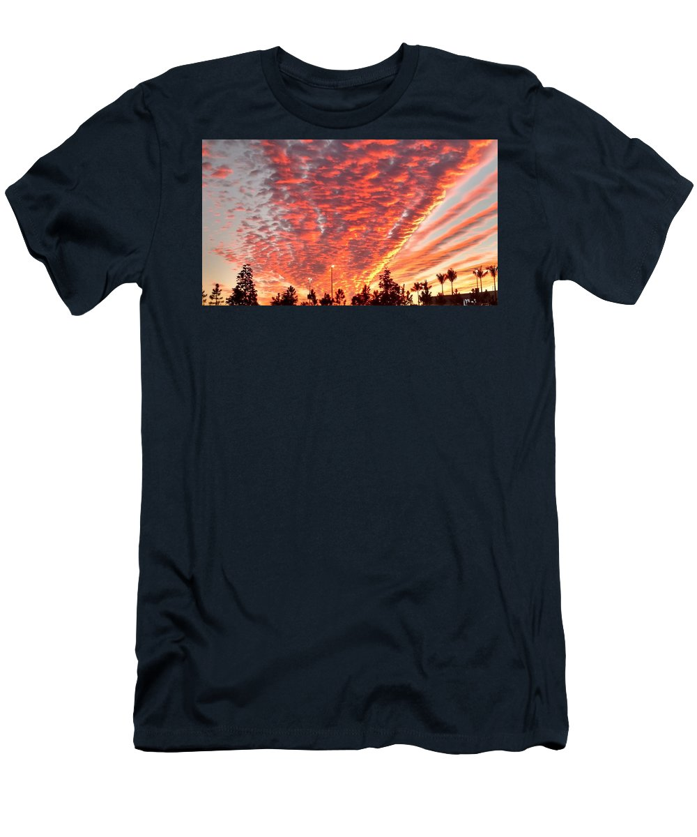 Clouds Men's T-Shirt (Athletic Fit) featuring the photograph The Sky Is On Fire by Scott Delano