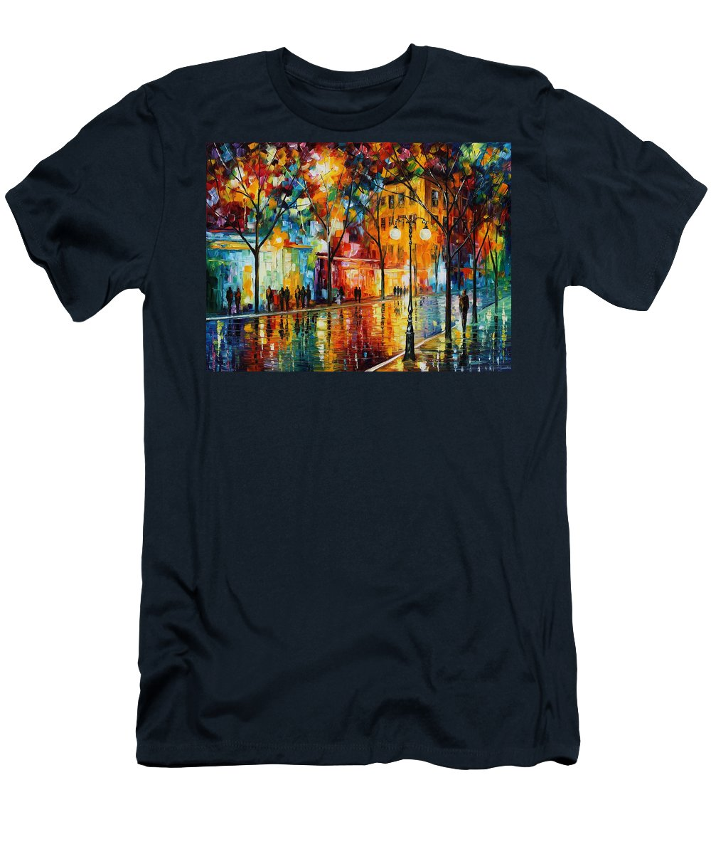 Leonid Afremov T-Shirt featuring the painting The Tears Of The Fall - Palette Knife Oil Painting On Canvas By Leonid Afremov by Leonid Afremov