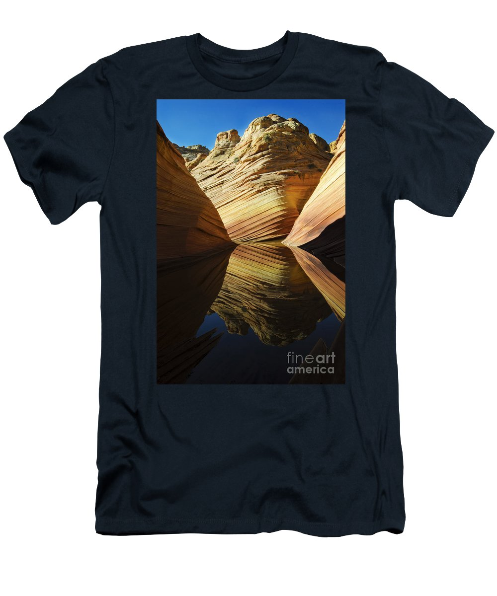 The Wave Men's T-Shirt (Athletic Fit) featuring the photograph The Wave Reflected Beauty 2 by Bob Christopher