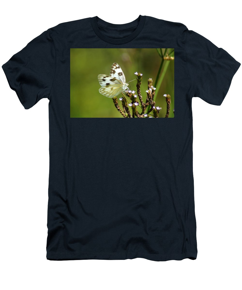Pontia Occidentalis Men's T-Shirt (Athletic Fit) featuring the photograph The Western White by Kim Pate