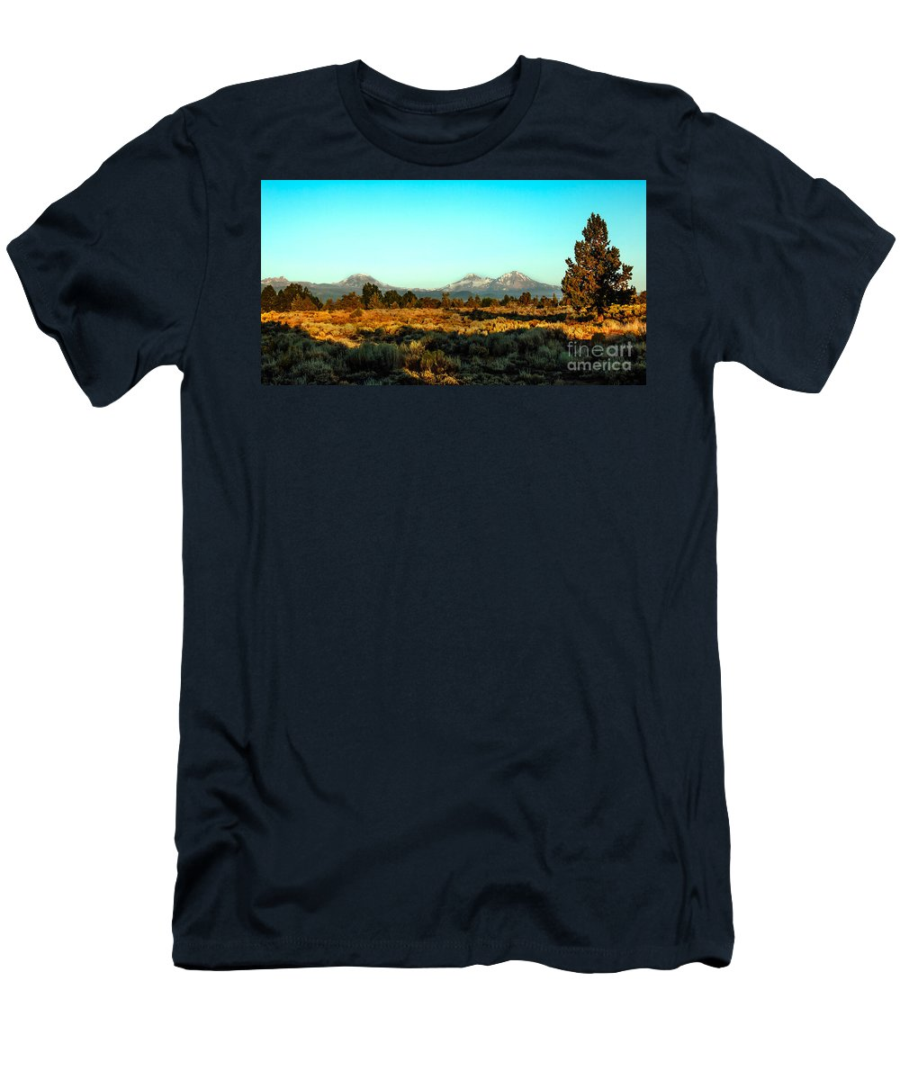 Mountains Men's T-Shirt (Athletic Fit) featuring the photograph Three Sisters by Robert Bales