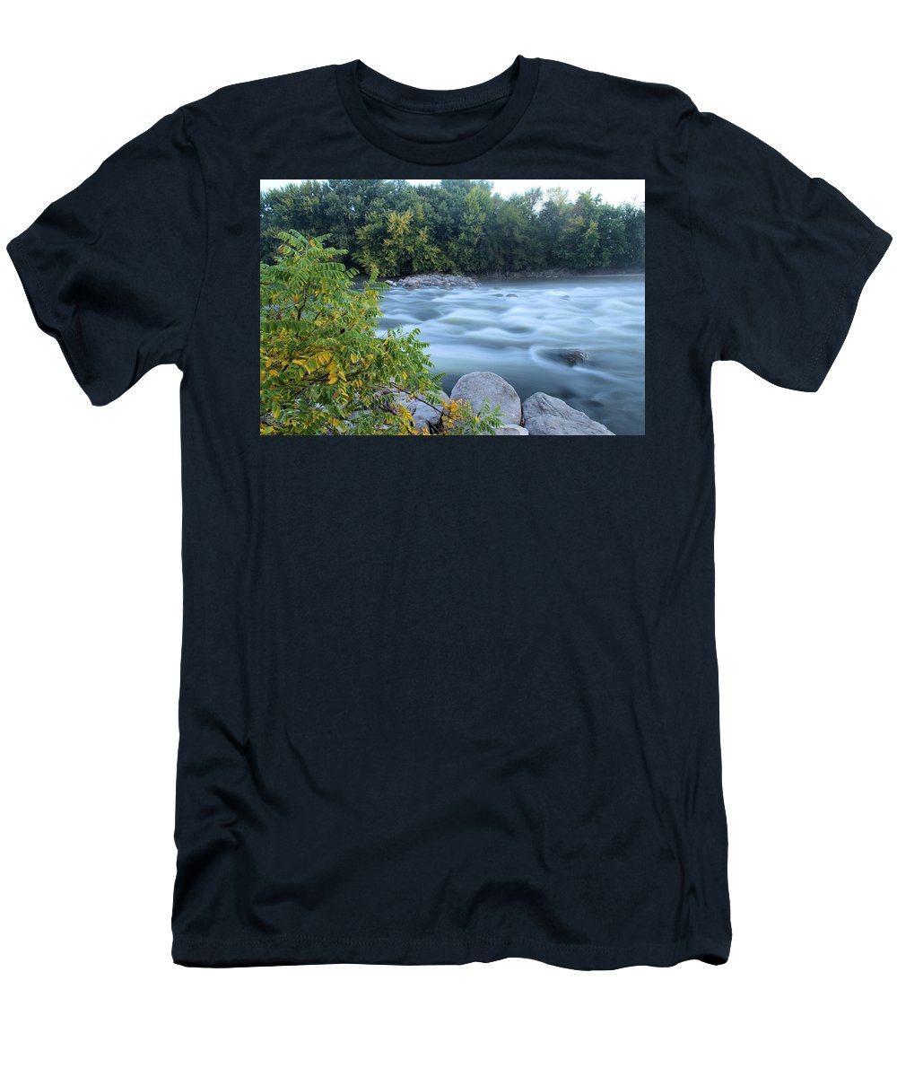 River Men's T-Shirt (Athletic Fit) featuring the photograph Timeless Raindrops by Bonfire Photography