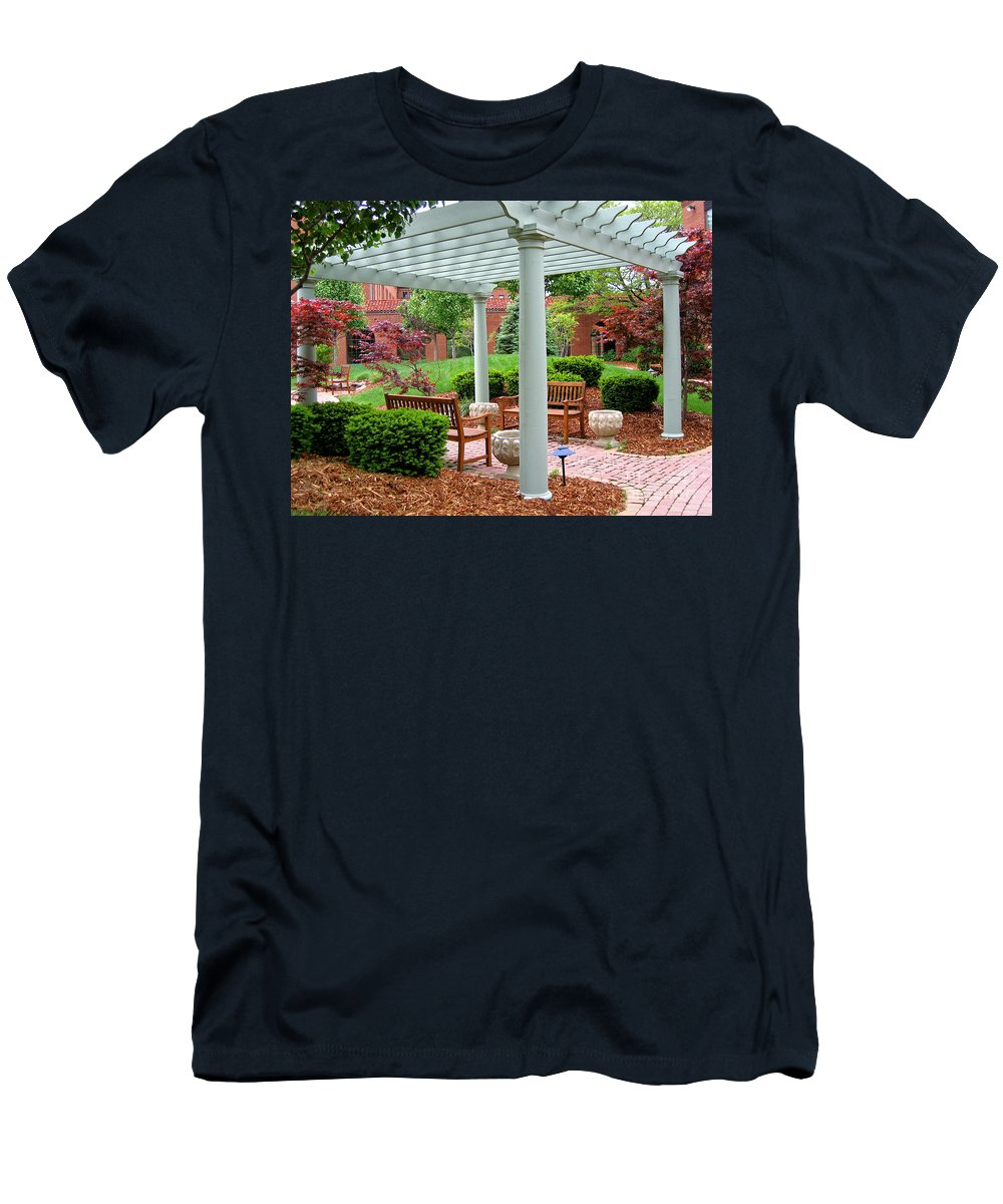 Courtyard Men's T-Shirt (Athletic Fit) featuring the photograph Tranquil Courtyard by Ann Horn