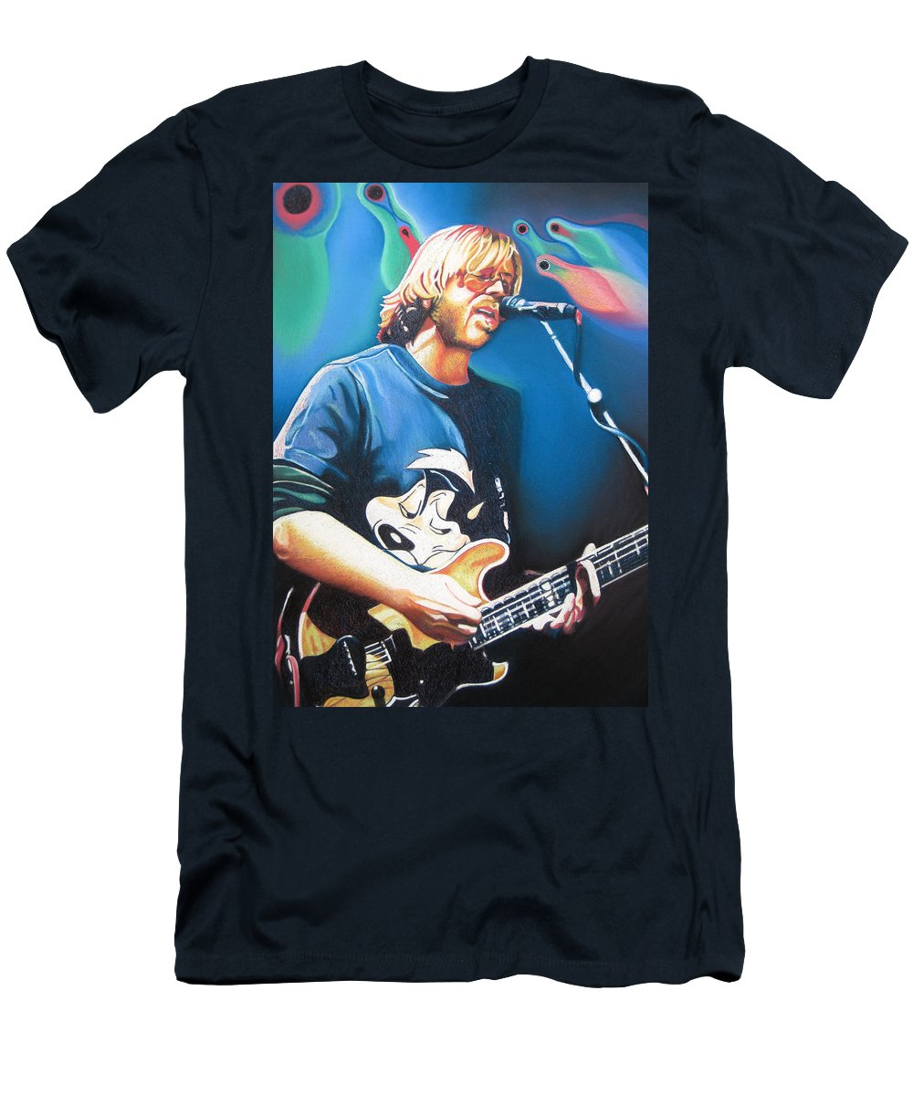 Phish Men's T-Shirt (Athletic Fit) featuring the drawing Trey Anastasio And Lights by Joshua Morton