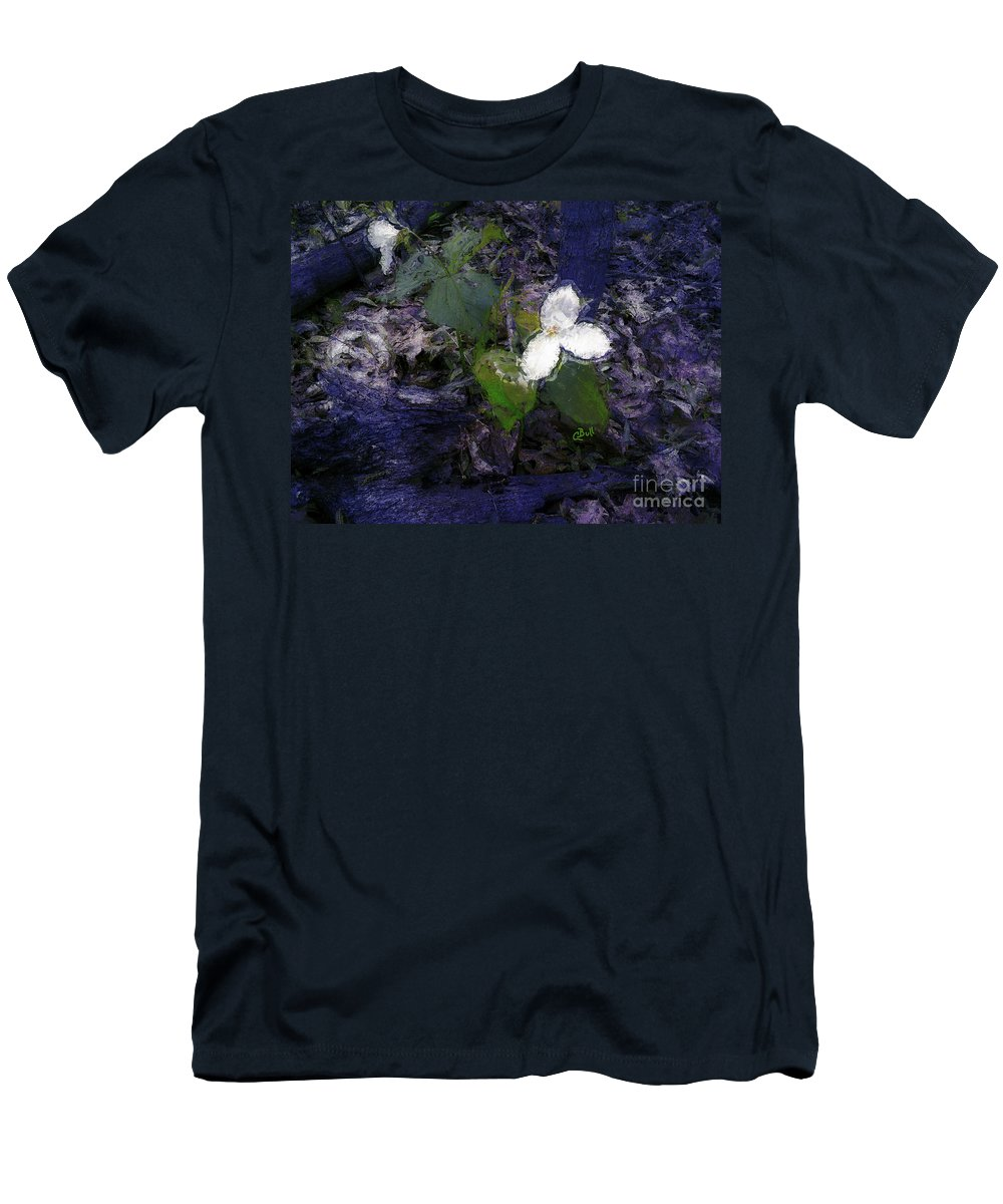Trilliums Men's T-Shirt (Athletic Fit) featuring the photograph Trilliums by Claire Bull