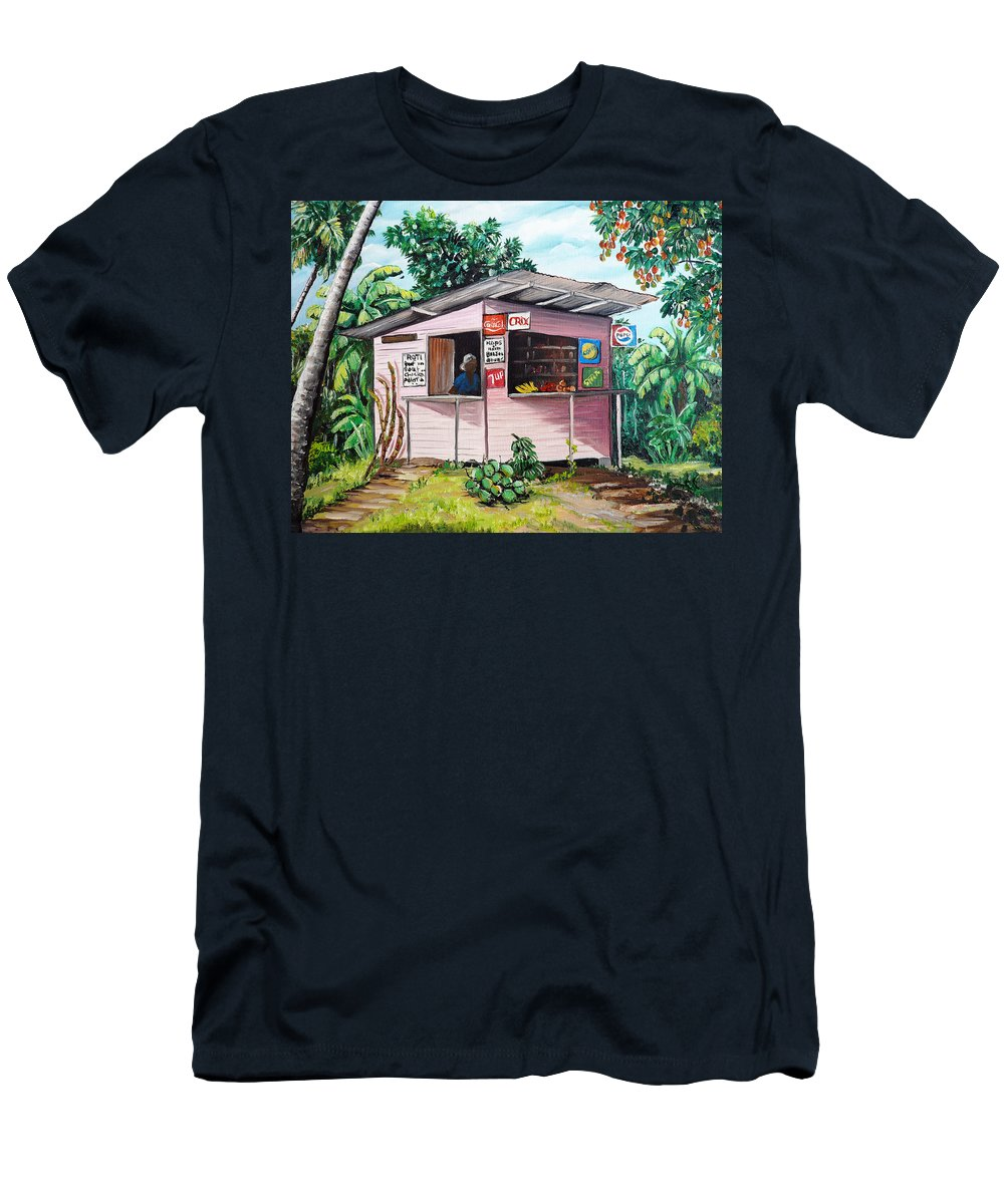 Shop Painting T-Shirt featuring the painting Trini Roti Shop by Karin Dawn Kelshall- Best