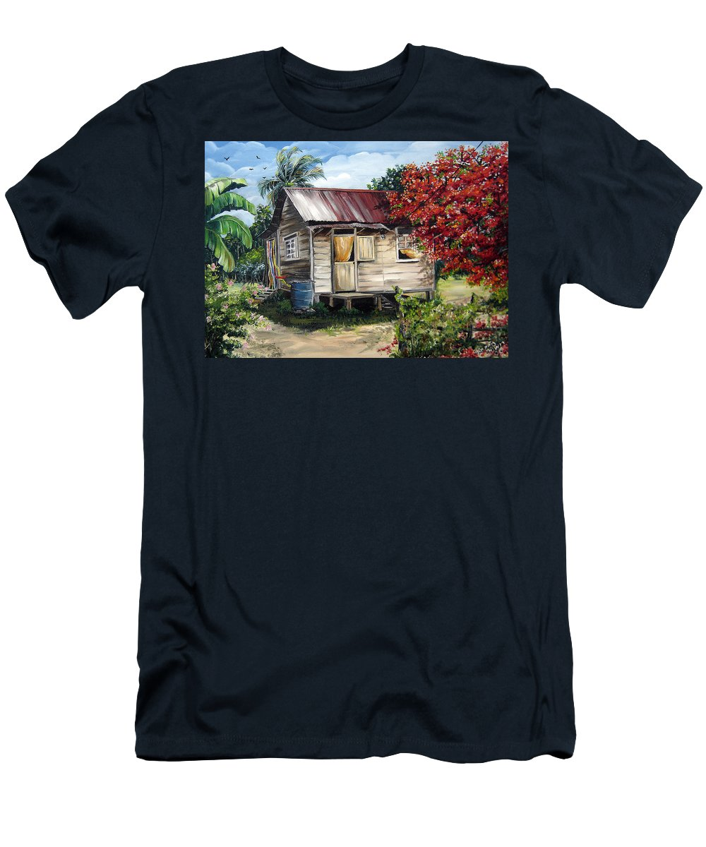 Landscape Paintings Tropical Paintings Trinidad House Paintings House Paintings Country Painting Trinidad Old Wood House Paintings Flamboyant Tree Paintings Caribbean Paintings Greeting Card Paintings Canvas Print Paintings Poster Art Paintings T-Shirt featuring the painting Trinidad Life 1 by Karin Dawn Kelshall- Best
