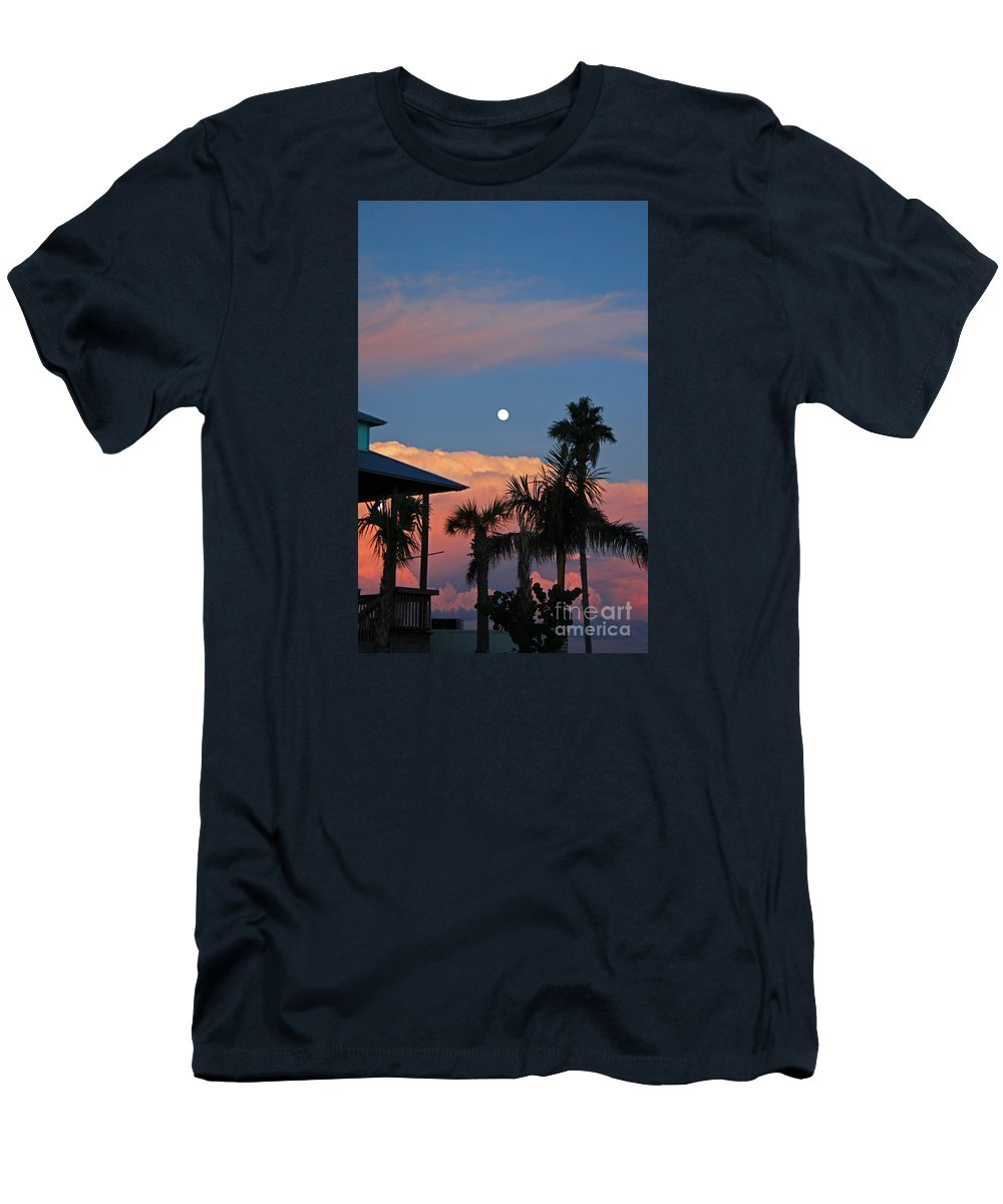 Tropical Men's T-Shirt (Athletic Fit) featuring the photograph Tropical Sunset With The Moon Rise by Kathy DesJardins