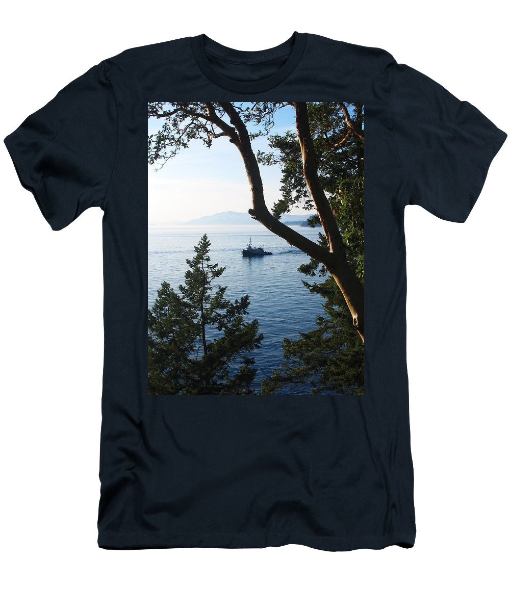 Tugboat Men's T-Shirt (Athletic Fit) featuring the photograph Tugboat Passes by Lorraine Devon Wilke