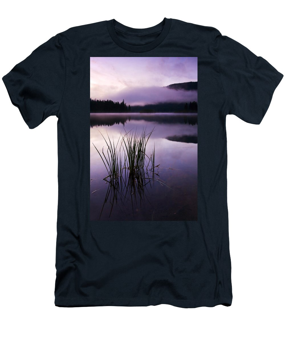 Lake Men's T-Shirt (Athletic Fit) featuring the photograph Twilight Glow by Mike Dawson