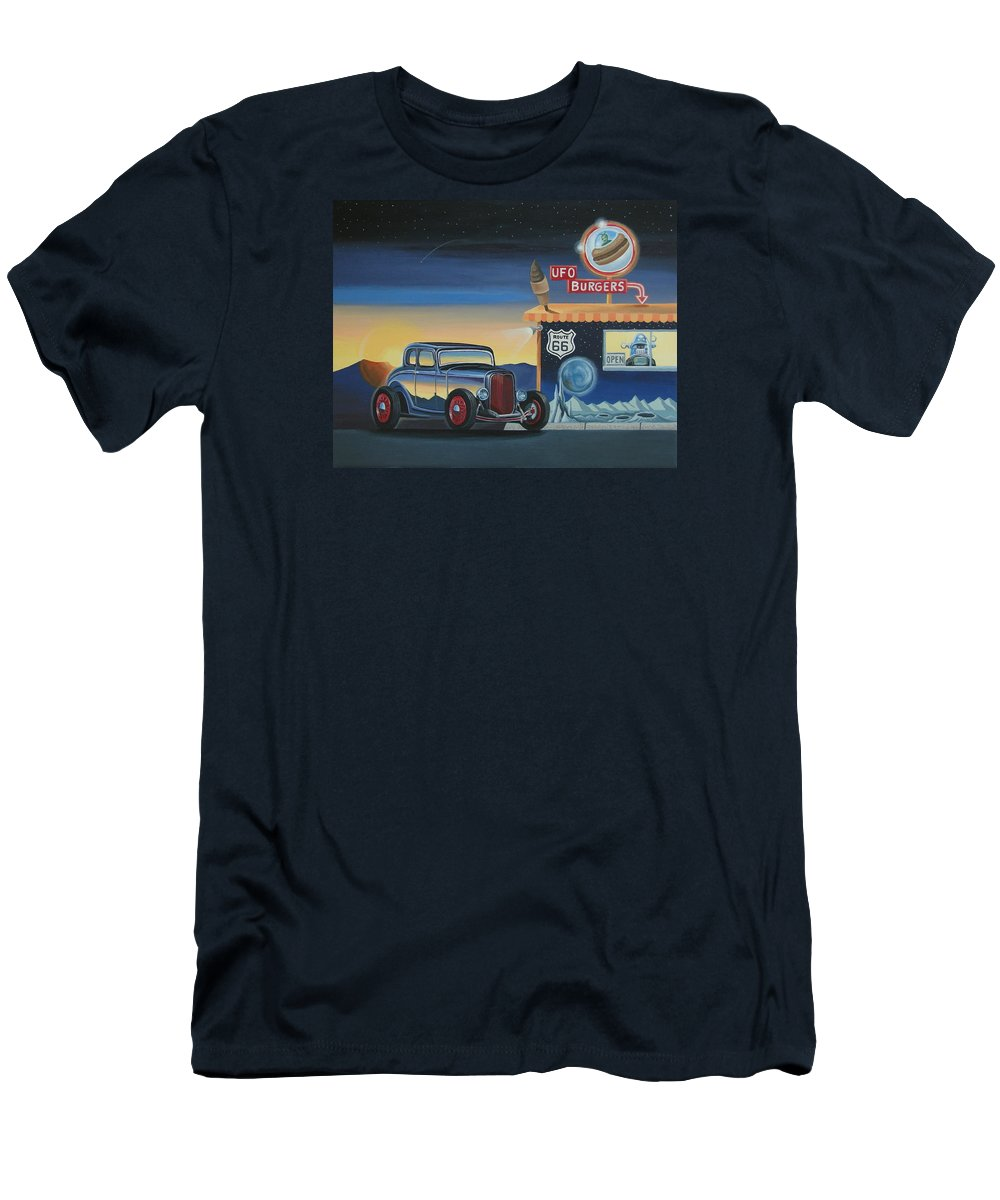 Hot Rod Men's T-Shirt (Athletic Fit) featuring the painting U.f.o. Burgers by Stuart Swartz