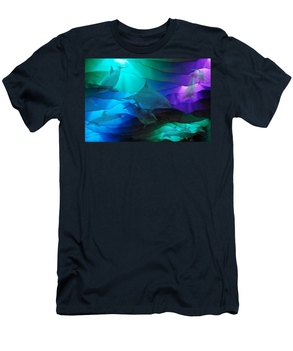 Dolphins Men's T-Shirt (Athletic Fit) featuring the photograph Under The Sea by Robert Meanor