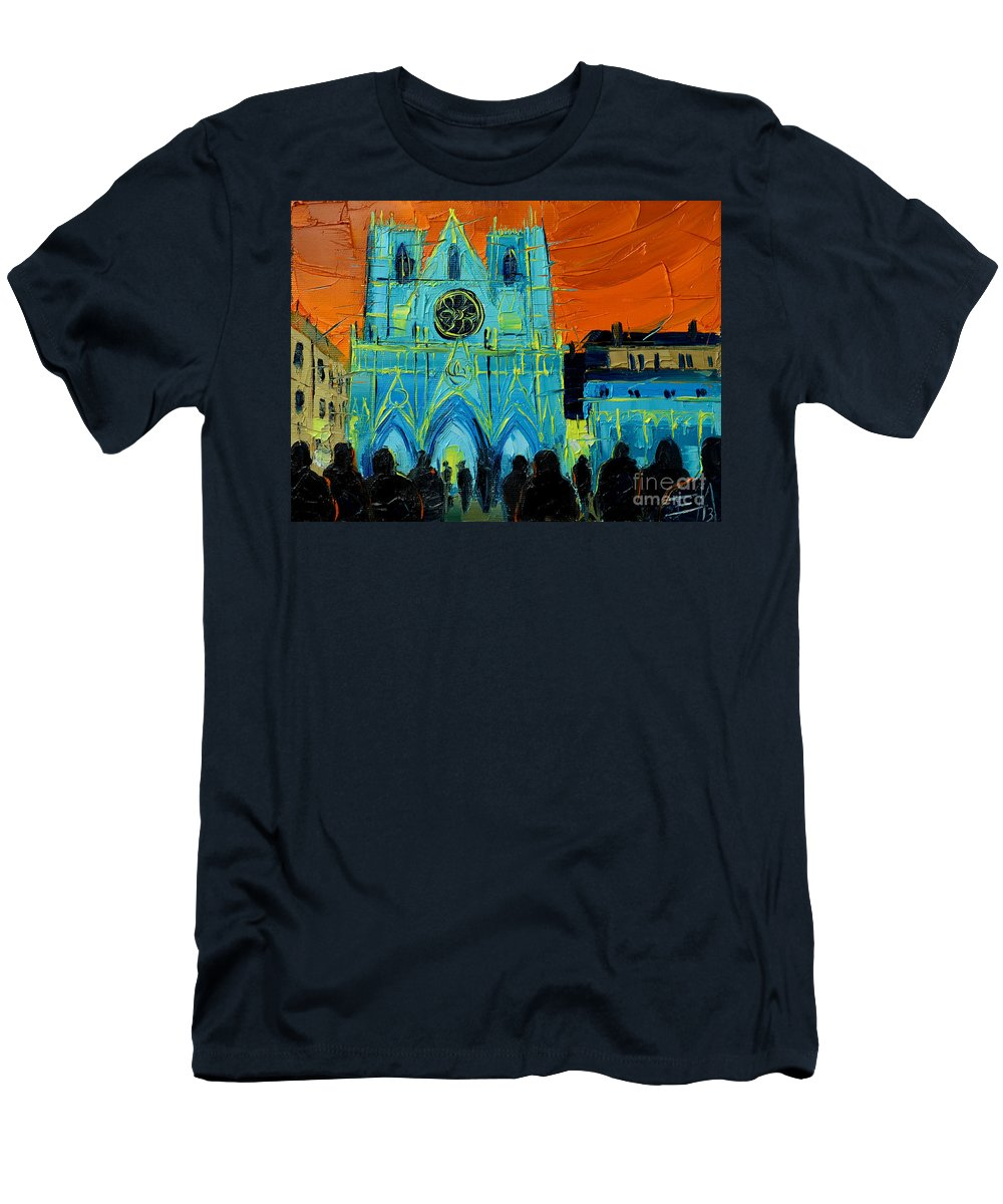 Urban Story The Festival Of Lights In Lyon Men's T-Shirt (Athletic Fit) featuring the painting Urban Story - The Festival Of Lights In Lyon by Mona Edulesco