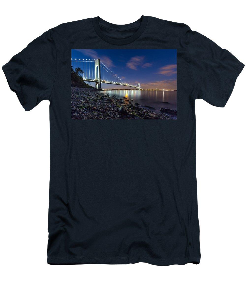 Night Men's T-Shirt (Athletic Fit) featuring the photograph Verrazano-narrows Bridge by Valeriy Shvetsov