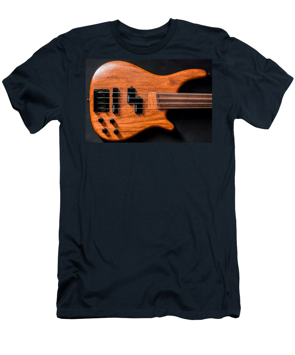 Art Men's T-Shirt (Athletic Fit) featuring the photograph Vintage Bass Guitar Body by Semmick Photo