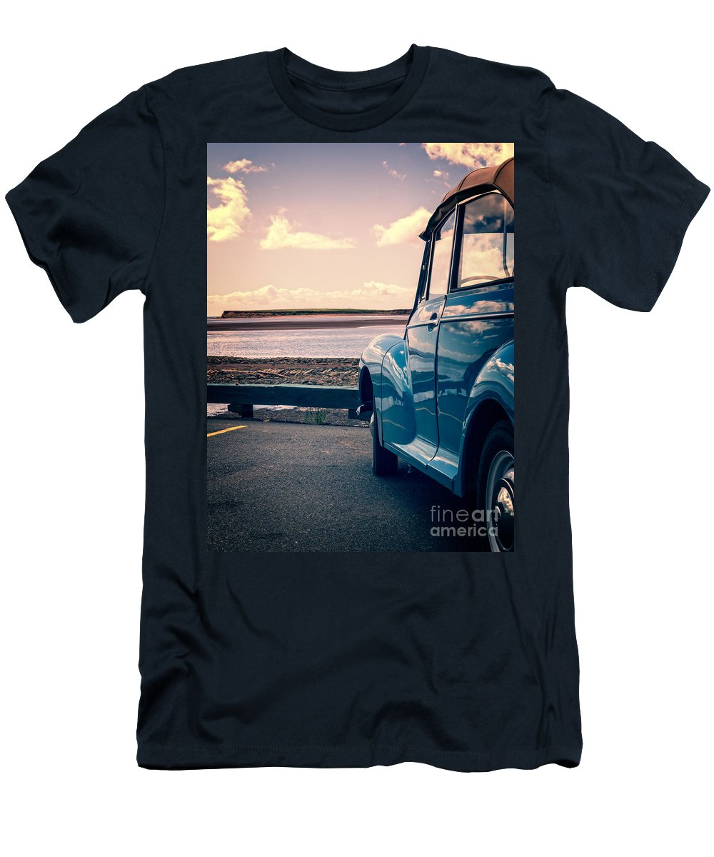 Beach Men's T-Shirt (Athletic Fit) featuring the photograph Vintage Car At The Beach by Edward Fielding