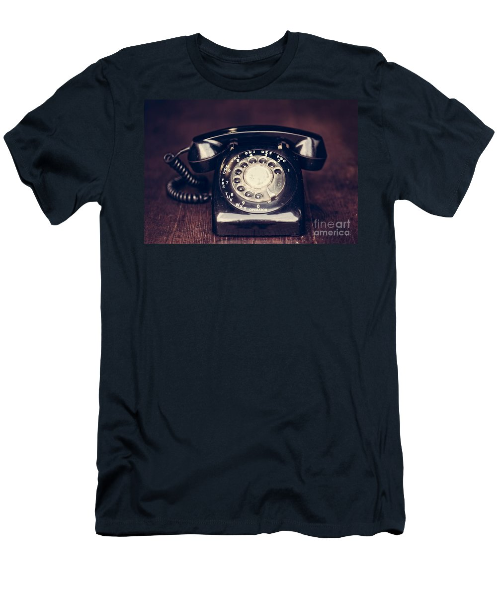 60s Men's T-Shirt (Athletic Fit) featuring the photograph Vintage Rotary Phone by Leslie Banks