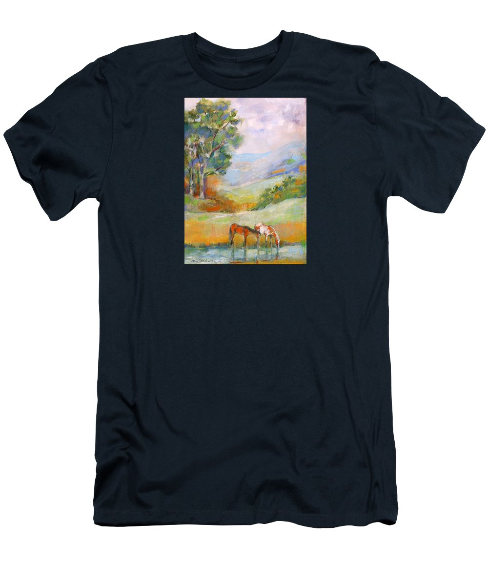 Horses Men's T-Shirt (Athletic Fit) featuring the painting Water Hole by Mary Armstrong