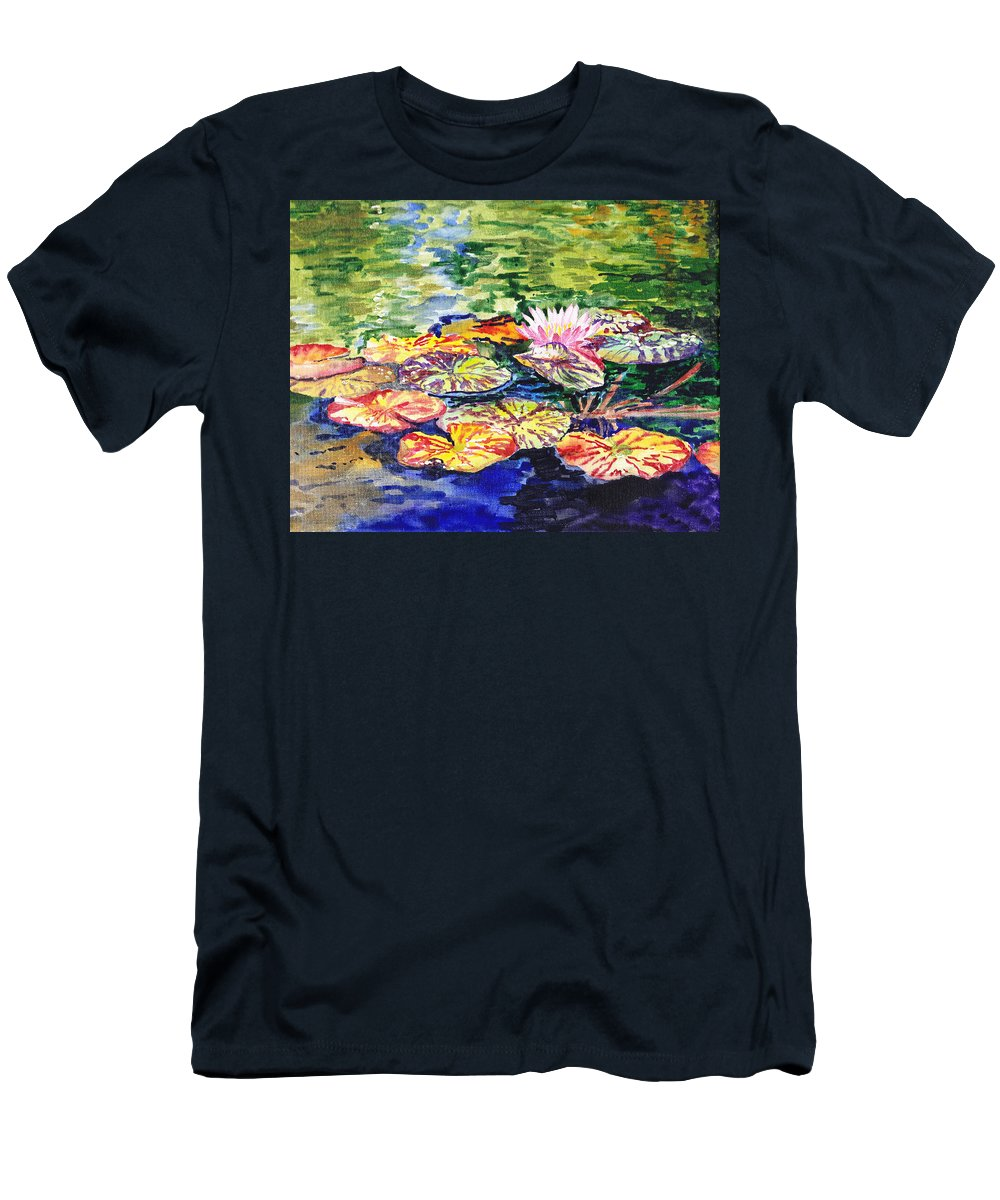 Lilies Men's T-Shirt (Athletic Fit) featuring the painting Water Lilies by Irina Sztukowski