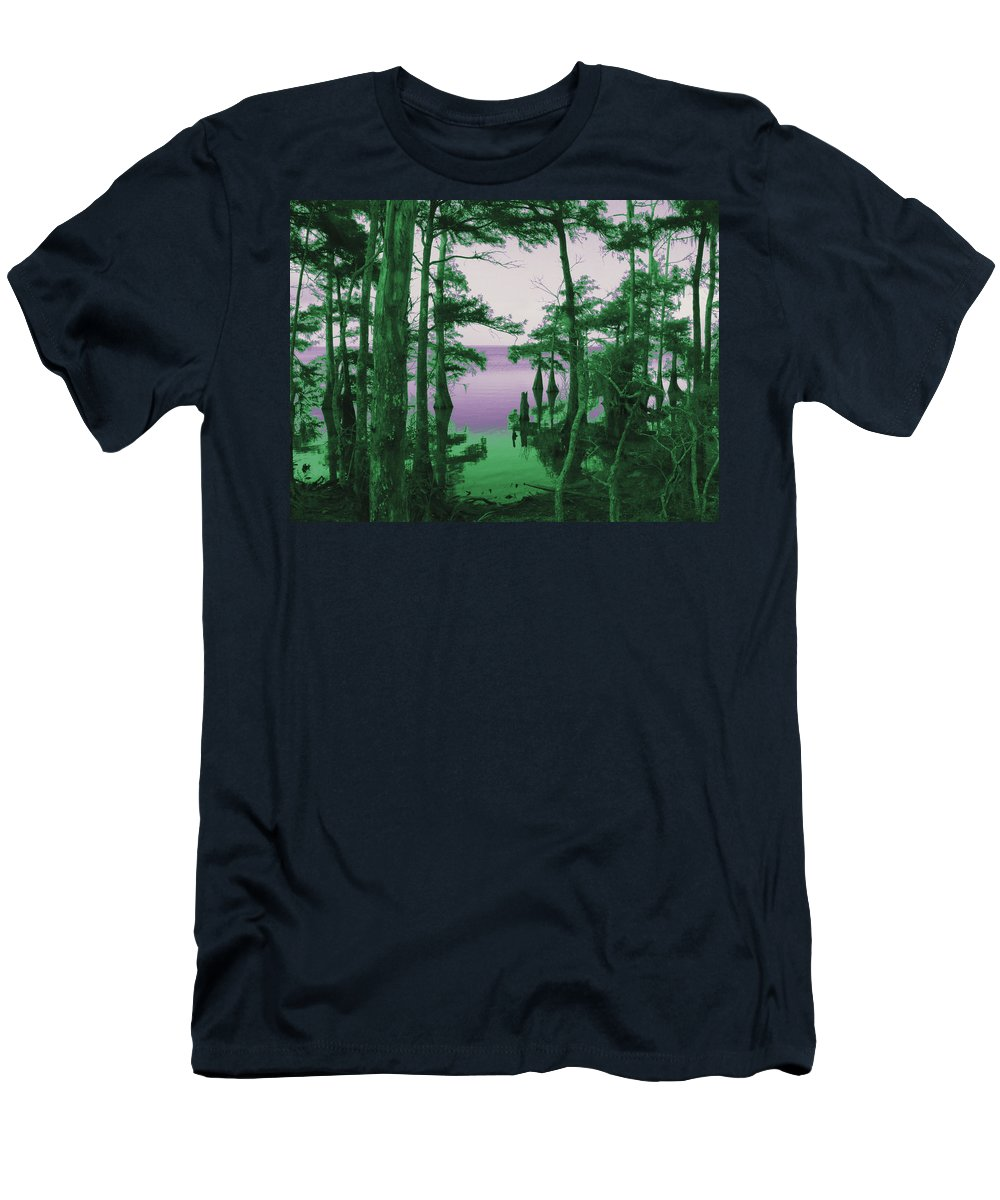 Swamp Men's T-Shirt (Athletic Fit) featuring the photograph Where Swamp Meets Bay by Robert Brown
