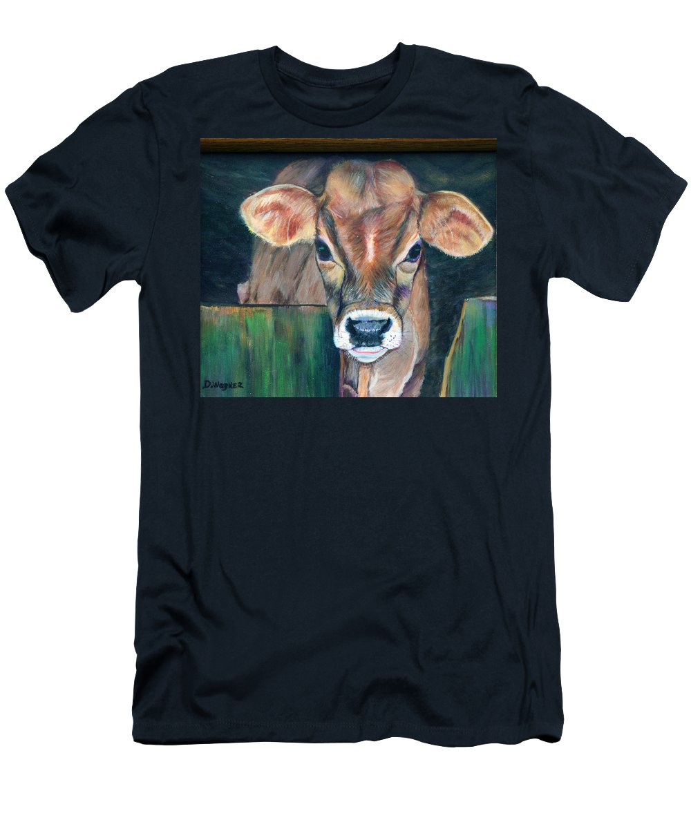 Calf Men's T-Shirt (Athletic Fit) featuring the painting Whiley Calf by Denise Wagner