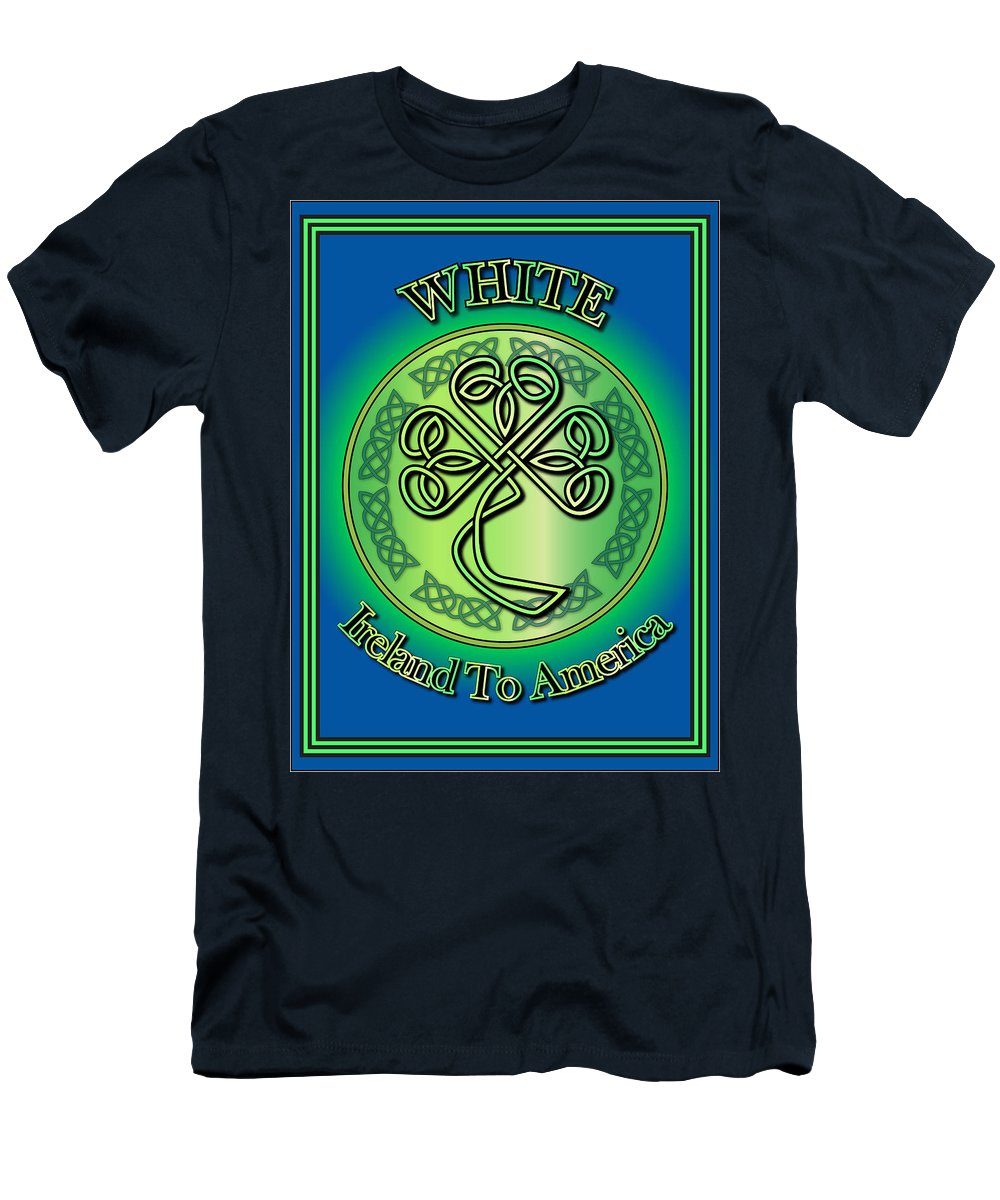 White Men's T-Shirt (Athletic Fit) featuring the digital art White Ireland To America by Ireland Calling